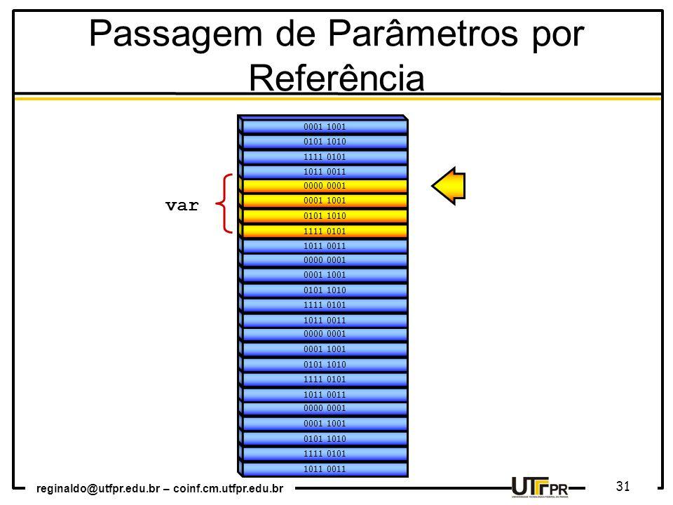 reginaldo@utfpr.edu.br – coinf.cm.utfpr.edu.br 31 1011 0011 1111 0101 0101 1010 0001 1001 0000 0001 1011 0011 1111 0101 0101 1010 0001 1001 0000 0001