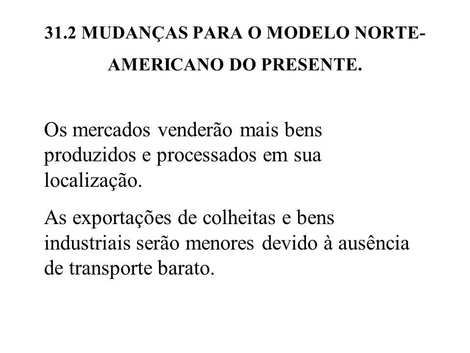 31.2 MUDANÇAS PARA O MODELO NORTE- AMERICANO DO PRESENTE. Os mercados venderão mais bens produzidos e processados em sua localização. As exportações d