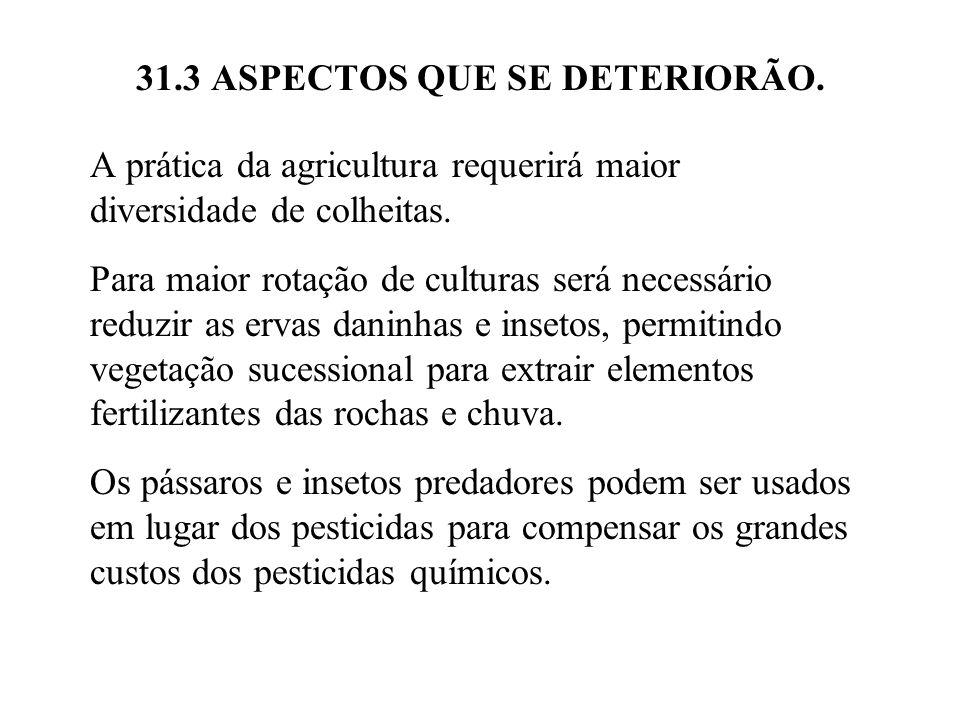 31.3 ASPECTOS QUE SE DETERIORÃO. A prática da agricultura requerirá maior diversidade de colheitas. Para maior rotação de culturas será necessário red