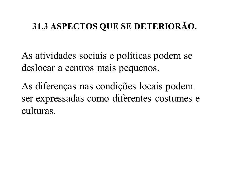 31.3 ASPECTOS QUE SE DETERIORÃO. As atividades sociais e políticas podem se deslocar a centros mais pequenos. As diferenças nas condições locais podem