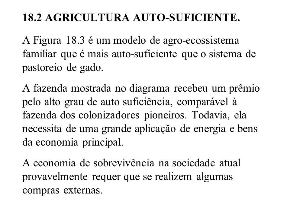 A Figura 18.3 é um modelo de agro-ecossistema familiar que é mais auto-suficiente que o sistema de pastoreio de gado.