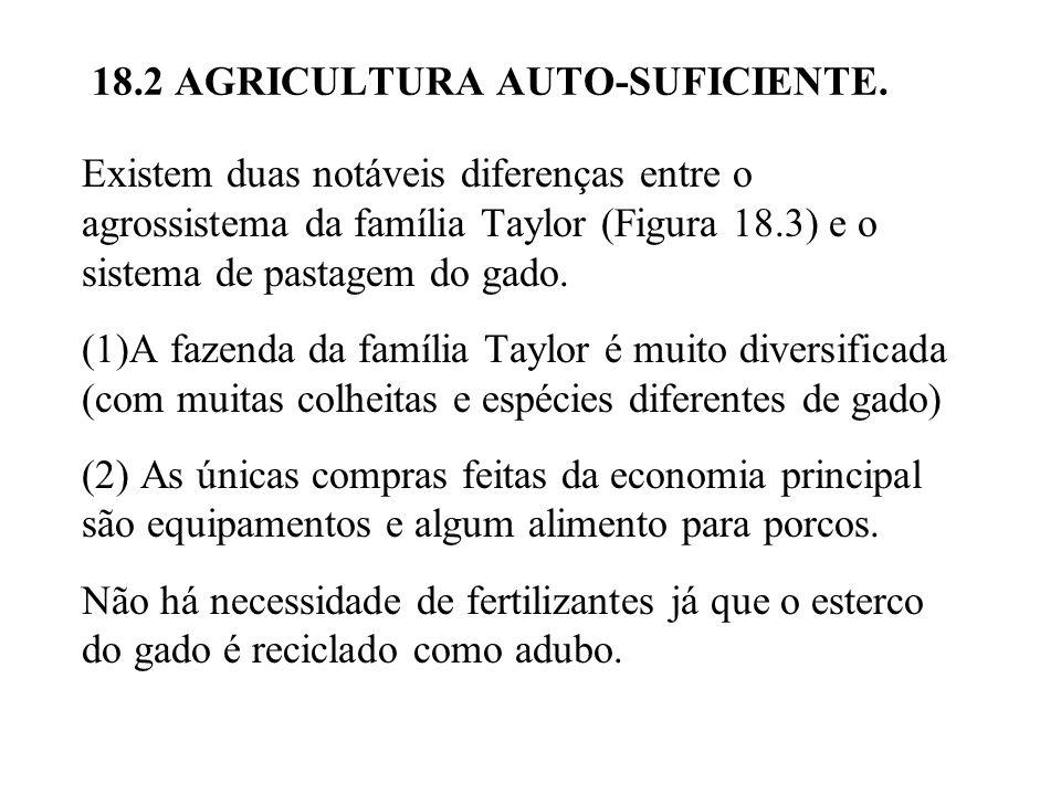 Existem duas notáveis diferenças entre o agrossistema da família Taylor (Figura 18.3) e o sistema de pastagem do gado.