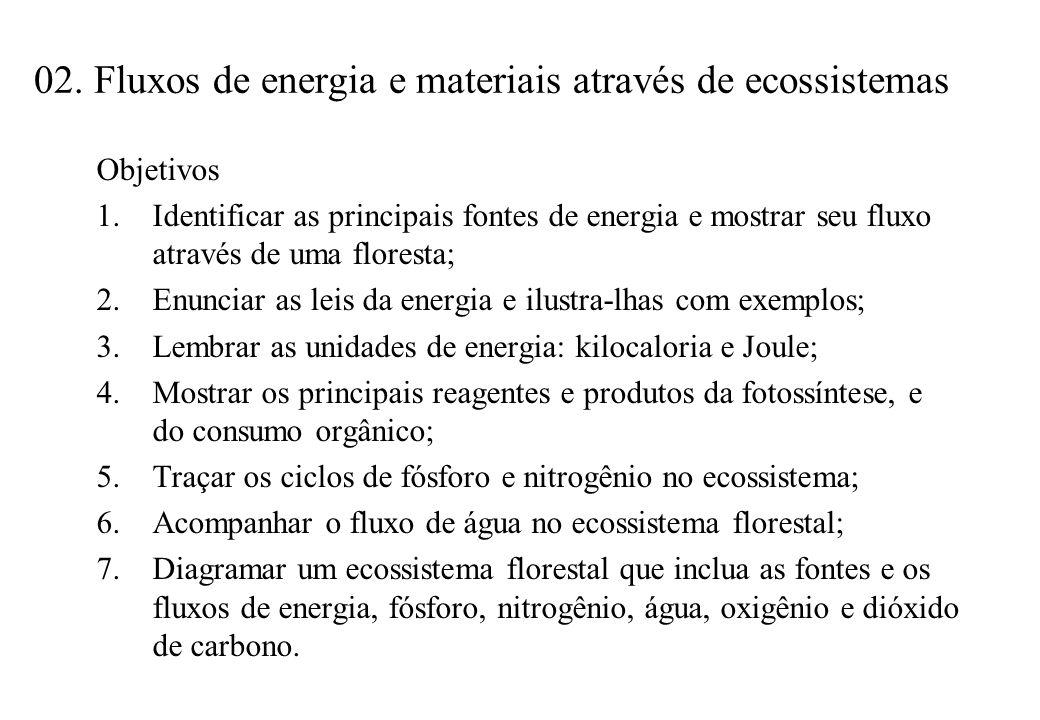 02. Fluxos de energia e materiais através de ecossistemas Objetivos 1.Identificar as principais fontes de energia e mostrar seu fluxo através de uma f