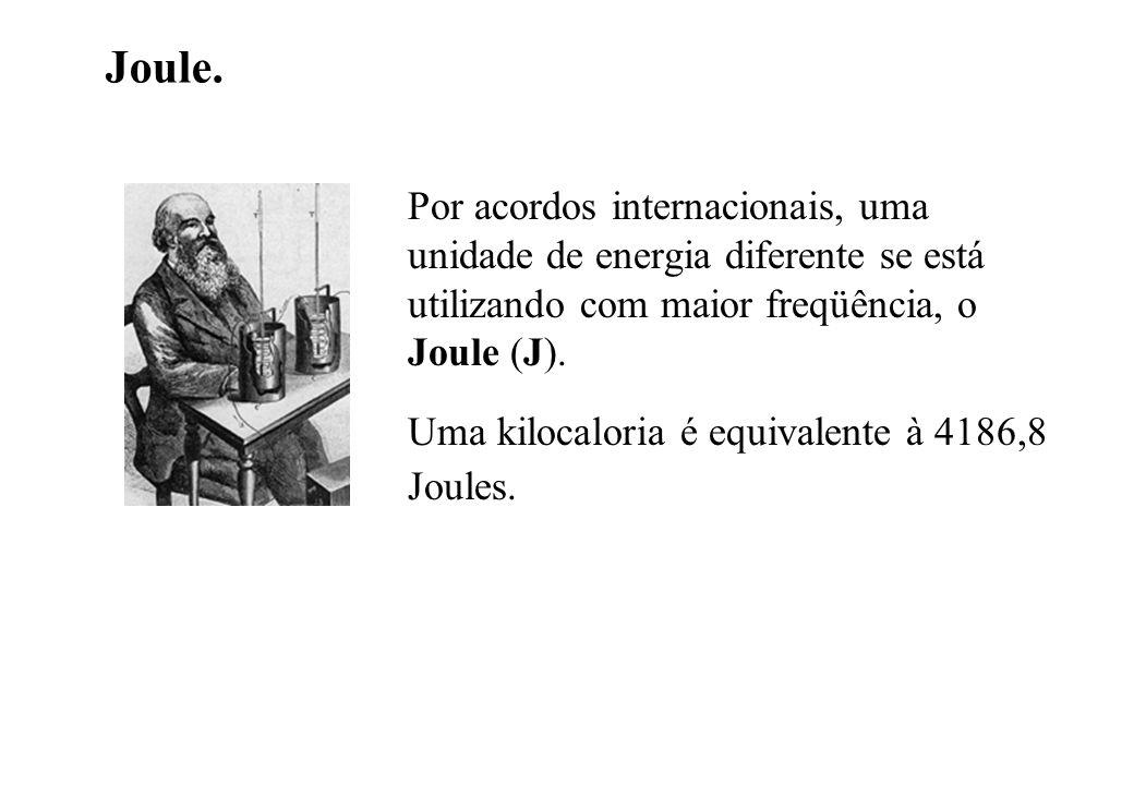 Joule. Por acordos internacionais, uma unidade de energia diferente se está utilizando com maior freqüência, o Joule (J). Uma kilocaloria é equivalent