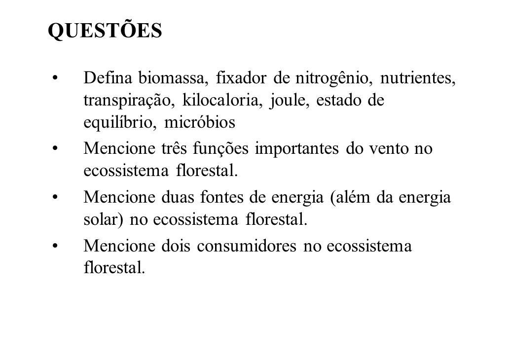 QUESTÕES Defina biomassa, fixador de nitrogênio, nutrientes, transpiração, kilocaloria, joule, estado de equilíbrio, micróbios Mencione três funções i