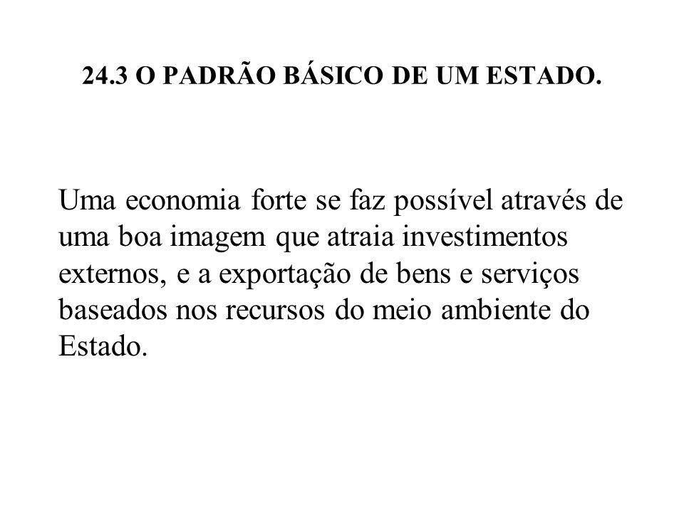 24.3 O PADRÃO BÁSICO DE UM ESTADO. Uma economia forte se faz possível através de uma boa imagem que atraia investimentos externos, e a exportação de b
