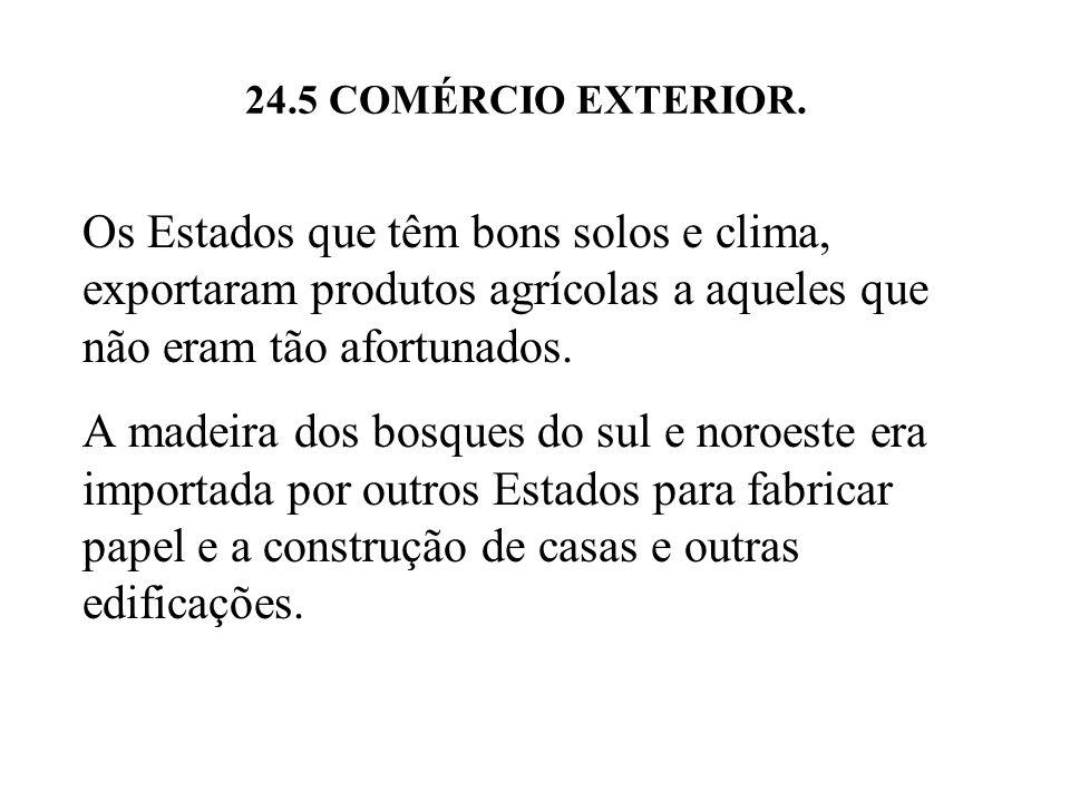 24.5 COMÉRCIO EXTERIOR. Os Estados que têm bons solos e clima, exportaram produtos agrícolas a aqueles que não eram tão afortunados. A madeira dos bos