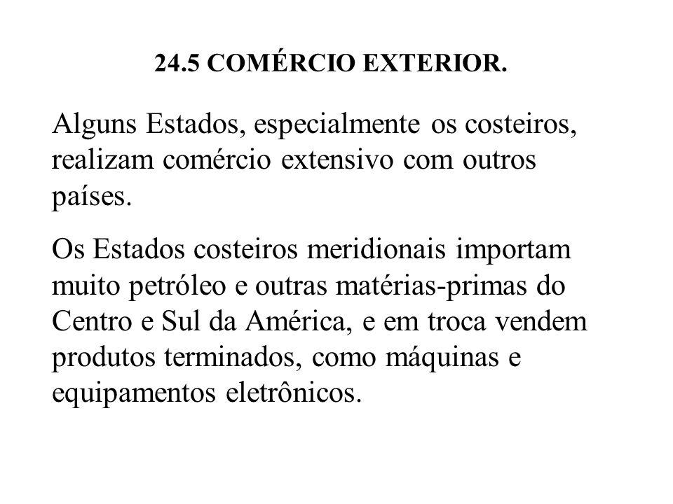 24.5 COMÉRCIO EXTERIOR. Alguns Estados, especialmente os costeiros, realizam comércio extensivo com outros países. Os Estados costeiros meridionais im