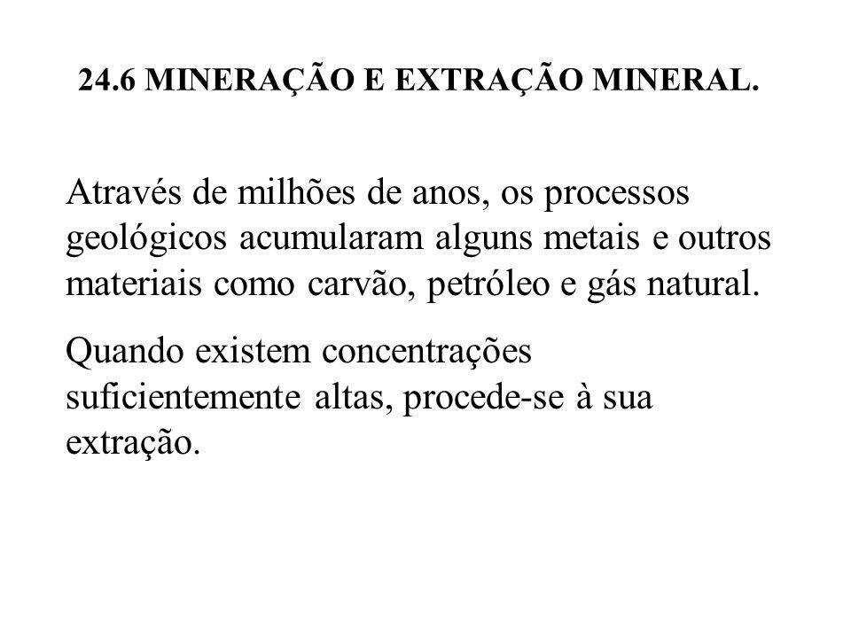 24.6 MINERAÇÃO E EXTRAÇÃO MINERAL. Através de milhões de anos, os processos geológicos acumularam alguns metais e outros materiais como carvão, petról