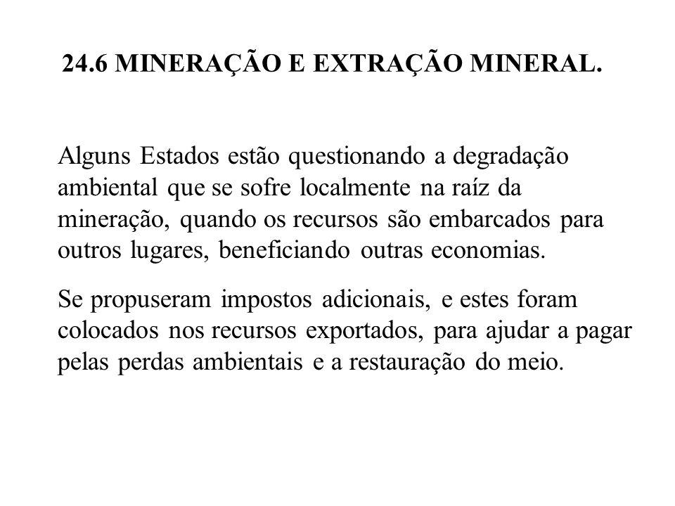 24.6 MINERAÇÃO E EXTRAÇÃO MINERAL. Alguns Estados estão questionando a degradação ambiental que se sofre localmente na raíz da mineração, quando os re