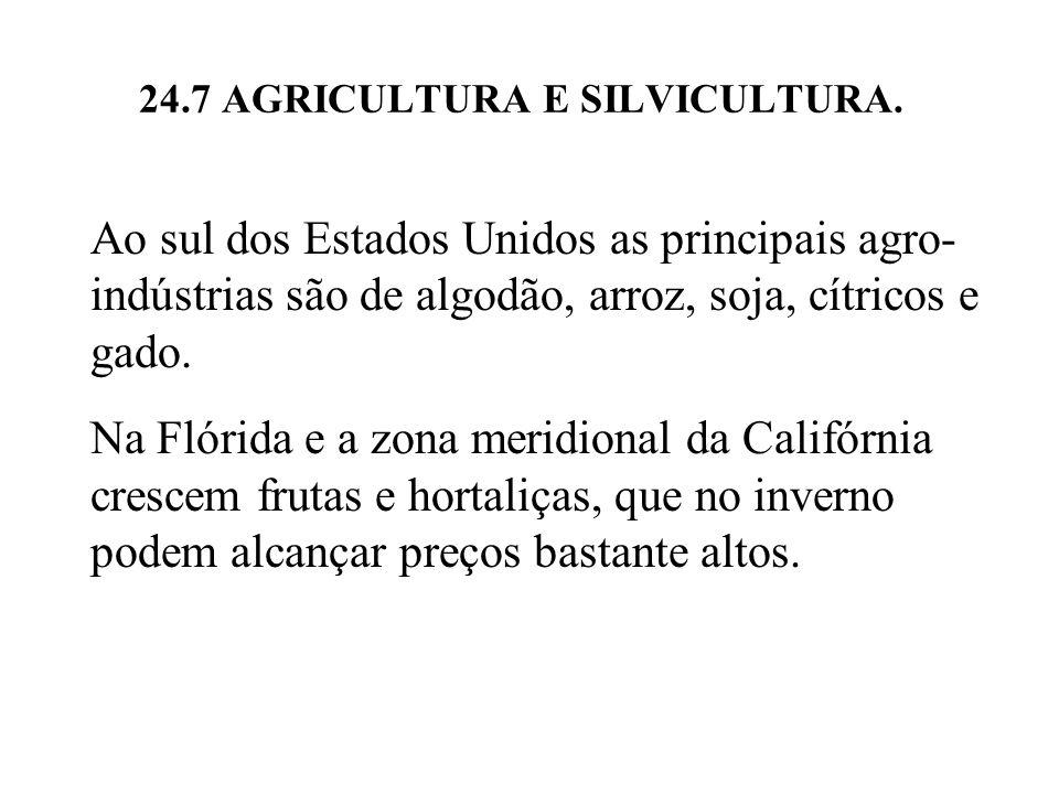 24.7 AGRICULTURA E SILVICULTURA. Ao sul dos Estados Unidos as principais agro- indústrias são de algodão, arroz, soja, cítricos e gado. Na Flórida e a
