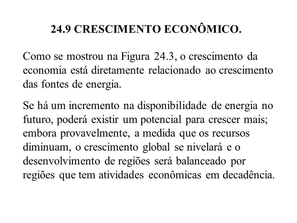24.9 CRESCIMENTO ECONÔMICO. Como se mostrou na Figura 24.3, o crescimento da economia está diretamente relacionado ao crescimento das fontes de energi