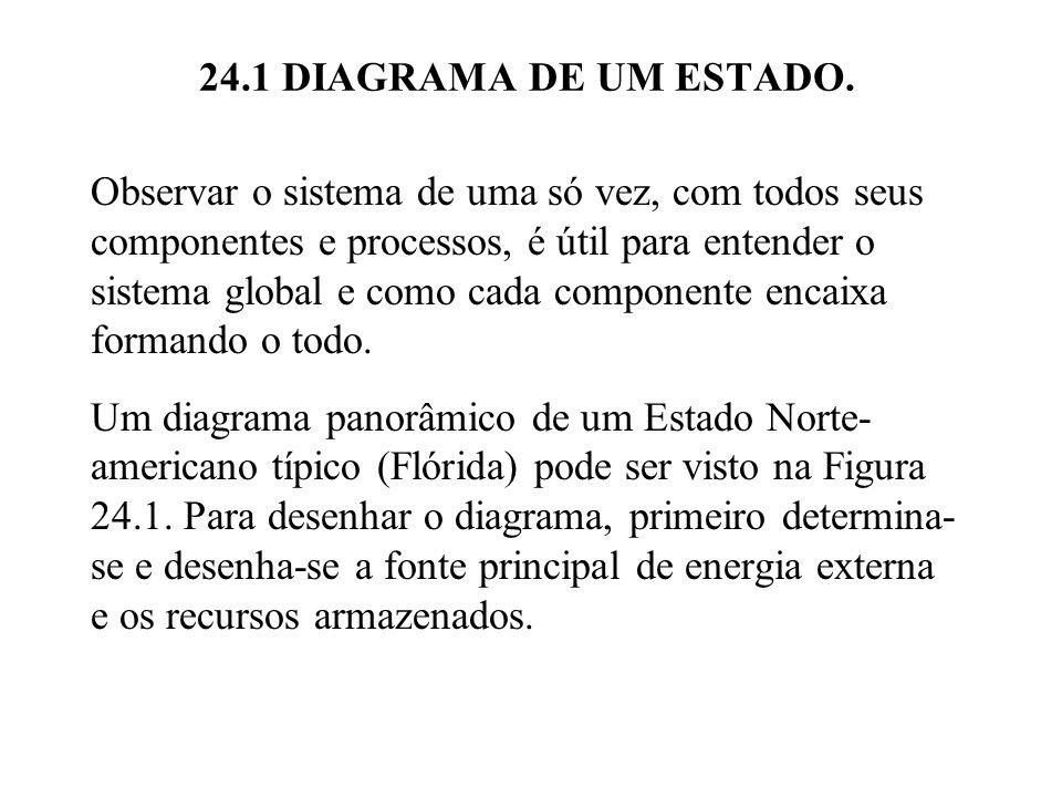 24.1 DIAGRAMA DE UM ESTADO. Observar o sistema de uma só vez, com todos seus componentes e processos, é útil para entender o sistema global e como cad