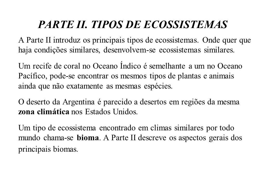 PARTE II. TIPOS DE ECOSSISTEMAS A Parte II introduz os principais tipos de ecossistemas. Onde quer que haja condições similares, desenvolvem-se ecossi