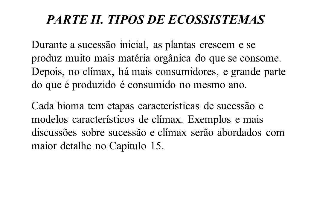 PARTE II. TIPOS DE ECOSSISTEMAS Durante a sucessão inicial, as plantas crescem e se produz muito mais matéria orgânica do que se consome. Depois, no c