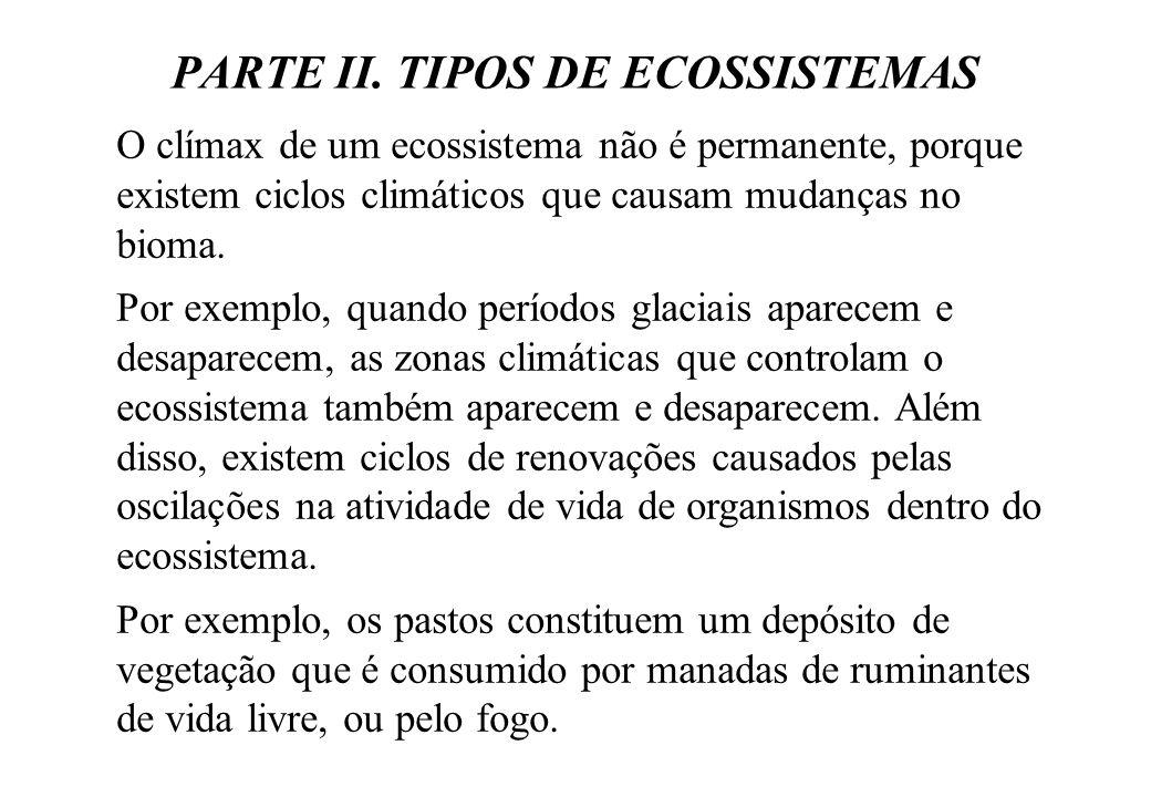 PARTE II. TIPOS DE ECOSSISTEMAS O clímax de um ecossistema não é permanente, porque existem ciclos climáticos que causam mudanças no bioma. Por exempl
