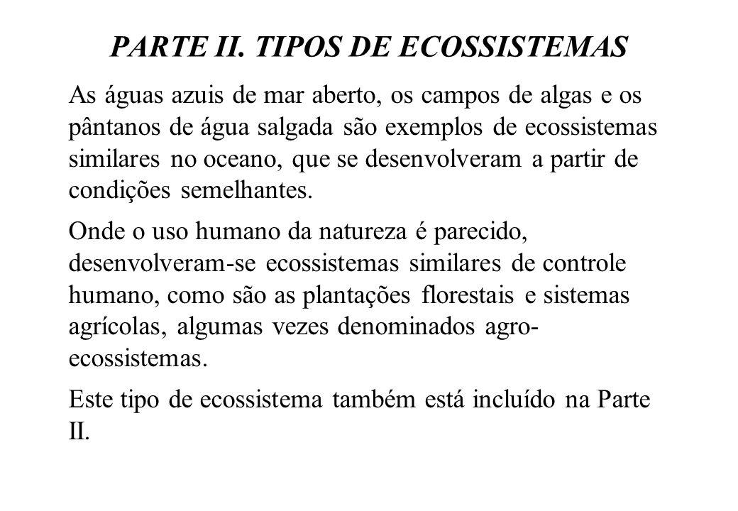 PARTE II. TIPOS DE ECOSSISTEMAS As águas azuis de mar aberto, os campos de algas e os pântanos de água salgada são exemplos de ecossistemas similares