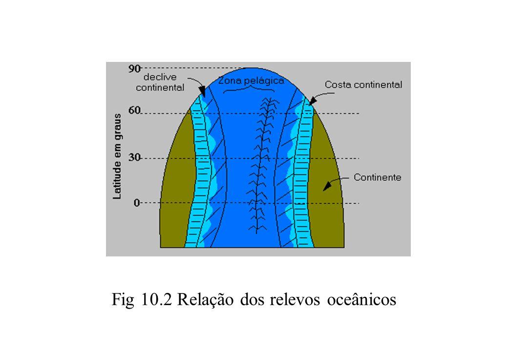 Fig 10.2 Relação dos relevos oceânicos