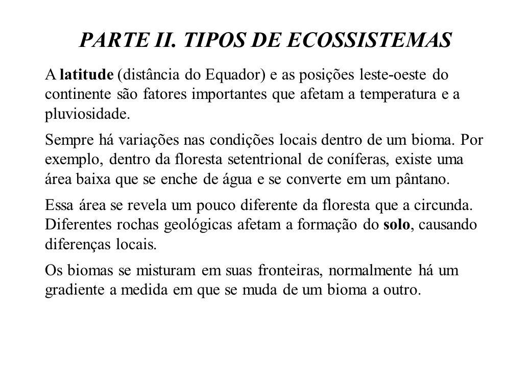 PARTE II. TIPOS DE ECOSSISTEMAS A latitude (distância do Equador) e as posições leste-oeste do continente são fatores importantes que afetam a tempera