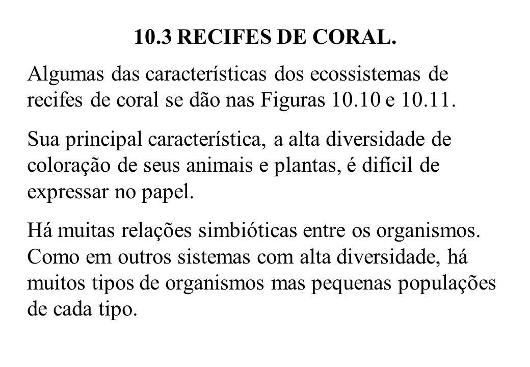 10.3 RECIFES DE CORAL. Algumas das características dos ecossistemas de recifes de coral se dão nas Figuras 10.10 e 10.11. Sua principal característica