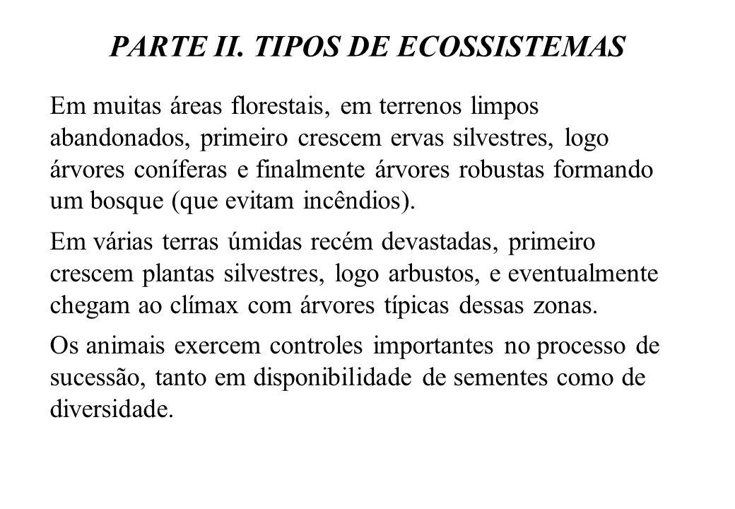 PARTE II. TIPOS DE ECOSSISTEMAS Em muitas áreas florestais, em terrenos limpos abandonados, primeiro crescem ervas silvestres, logo árvores coníferas