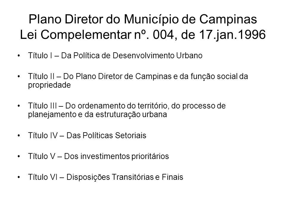 Plano Diretor do Município de Campinas Lei Compelementar nº. 004, de 17.jan.1996 Título I – Da Política de Desenvolvimento Urbano Título II – Do Plano
