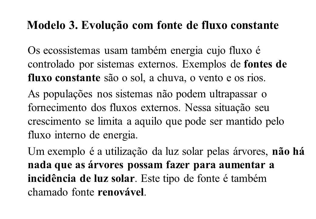 Modelo 3. Evolução com fonte de fluxo constante Os ecossistemas usam também energia cujo fluxo é controlado por sistemas externos. Exemplos de fontes