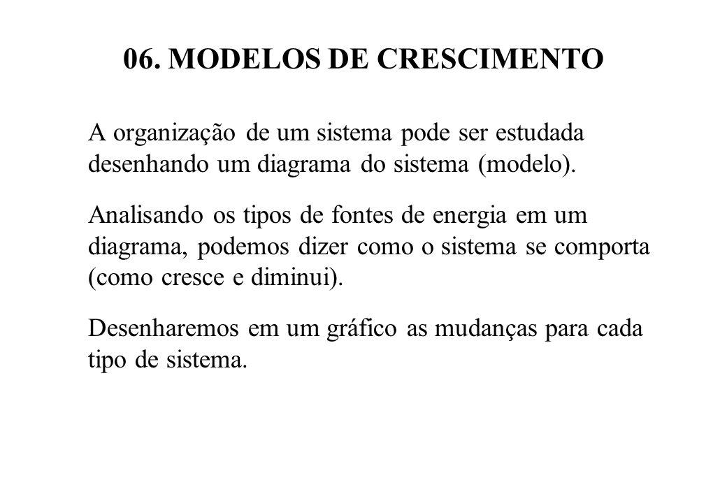 06. MODELOS DE CRESCIMENTO A organização de um sistema pode ser estudada desenhando um diagrama do sistema (modelo). Analisando os tipos de fontes de