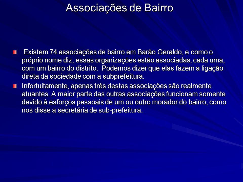 Associações de Bairro Existem 74 associações de bairro em Barão Geraldo, e como o próprio nome diz, essas organizações estão associadas, cada uma, com