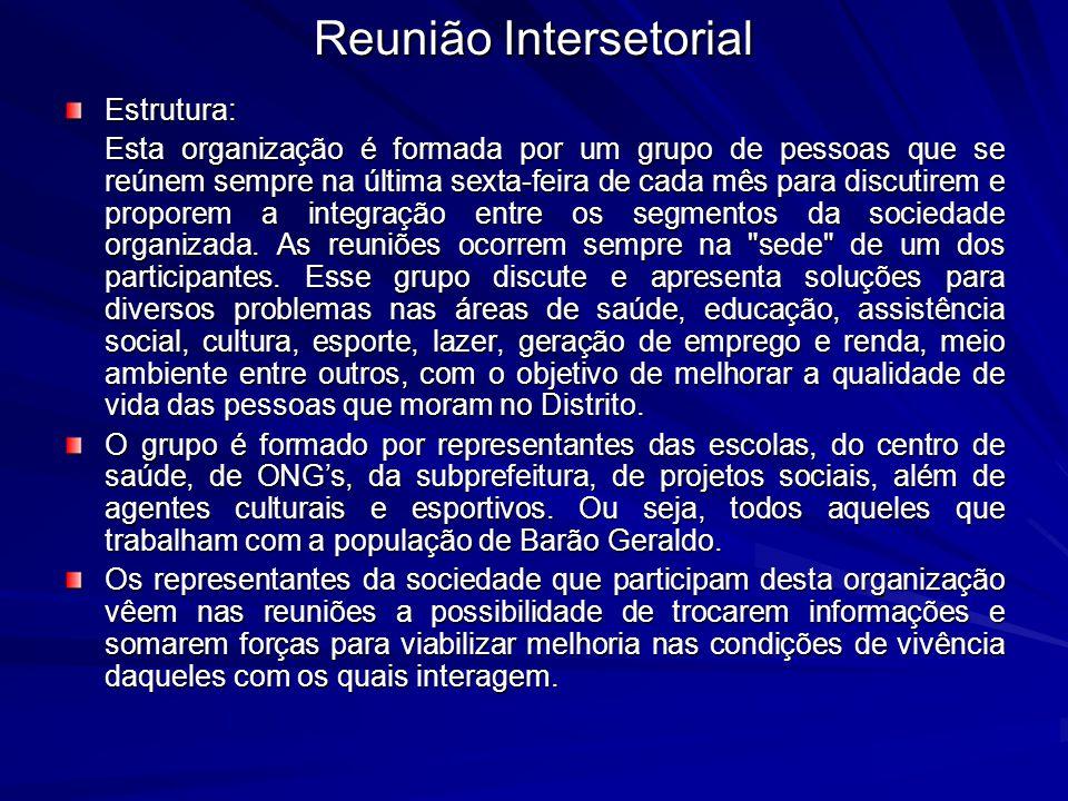 Reunião Intersetorial Estrutura: Esta organização é formada por um grupo de pessoas que se reúnem sempre na última sexta-feira de cada mês para discut