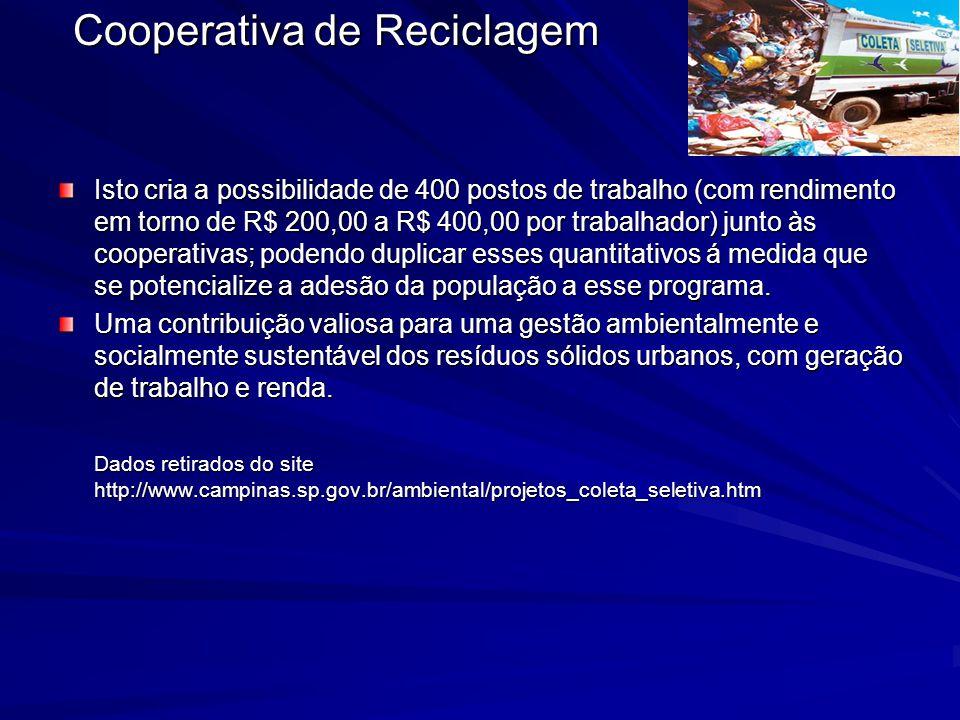 Isto cria a possibilidade de 400 postos de trabalho (com rendimento em torno de R$ 200,00 a R$ 400,00 por trabalhador) junto às cooperativas; podendo