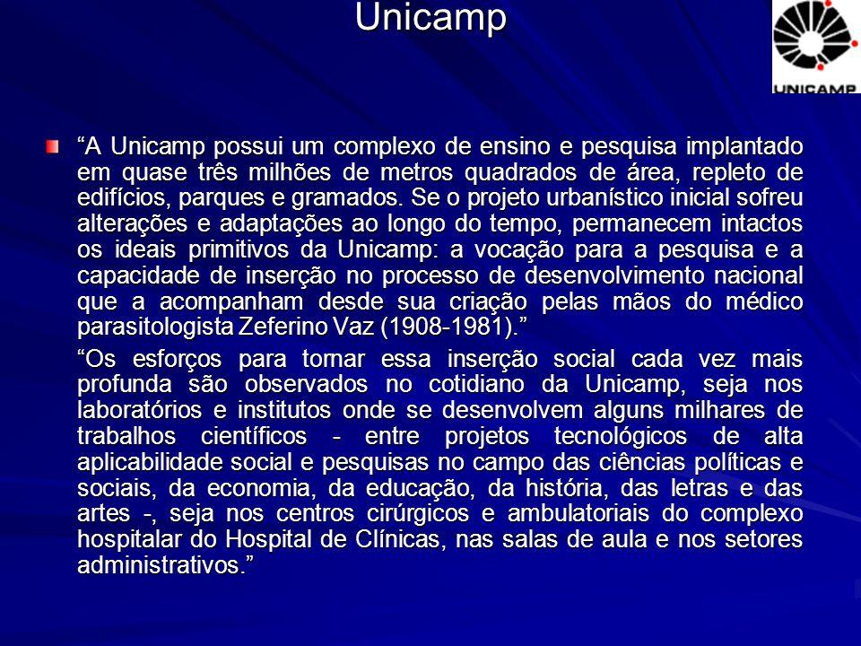 """Unicamp """"A Unicamp possui um complexo de ensino e pesquisa implantado em quase três milhões de metros quadrados de área, repleto de edifícios, parques"""