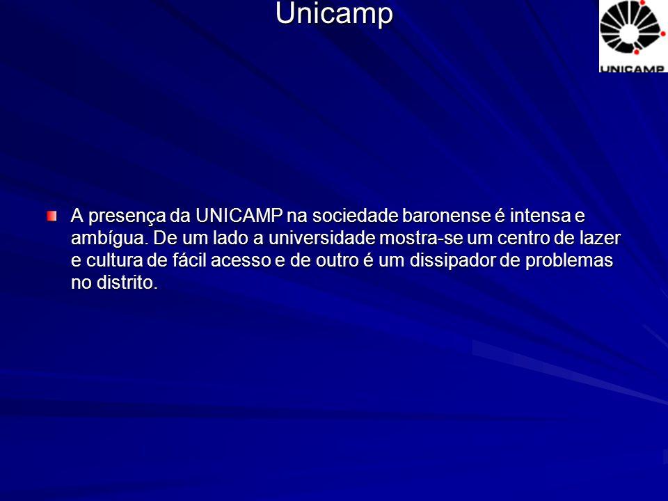 A presença da UNICAMP na sociedade baronense é intensa e ambígua. De um lado a universidade mostra-se um centro de lazer e cultura de fácil acesso e d
