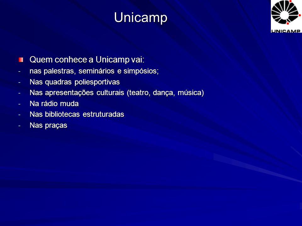 Quem conhece a Unicamp vai: - nas palestras, seminários e simpósios; - Nas quadras poliesportivas - Nas apresentações culturais (teatro, dança, música