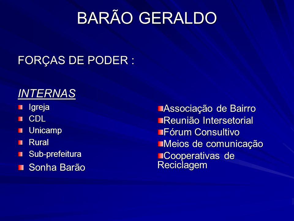 BARÃO GERALDO FORÇAS DE PODER : INTERNASIgrejaCDLUnicampRuralSub-prefeitura Sonha Barão Associação de Bairro Reunião Intersetorial Fórum Consultivo Me