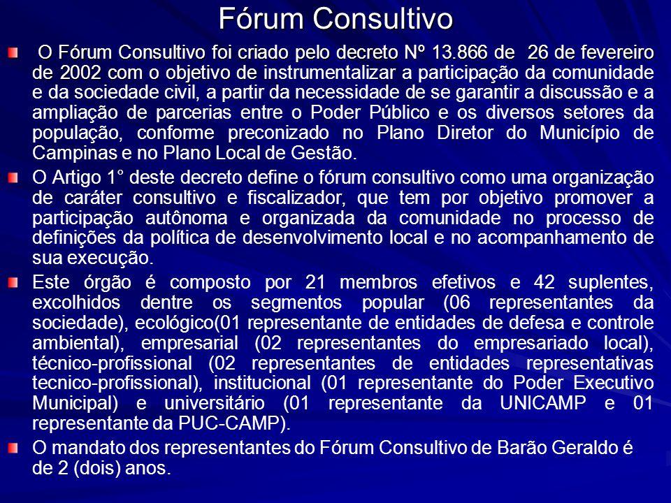 Fórum Consultivo O Fórum Consultivo foi criado pelo decreto Nº 13.866 de 26 de fevereiro de 2002 com o objetivo de O Fórum Consultivo foi criado pelo