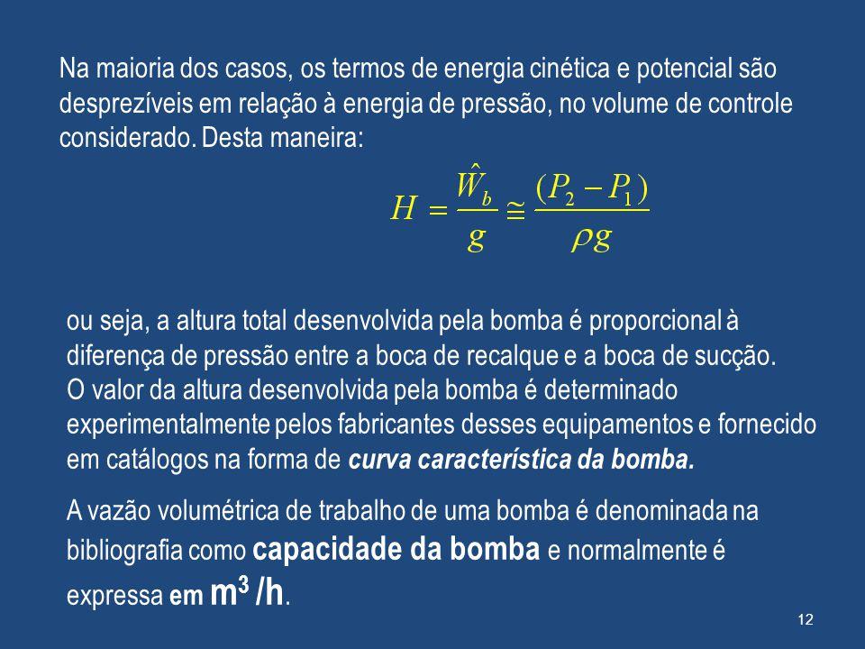 Na maioria dos casos, os termos de energia cinética e potencial são desprezíveis em relação à energia de pressão, no volume de controle considerado. D
