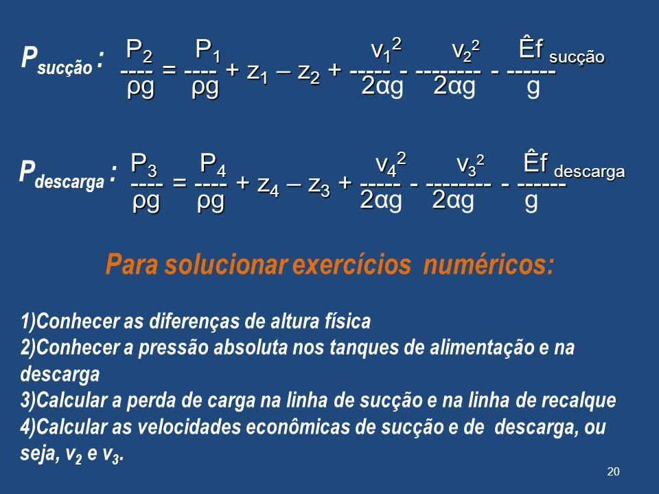 20 P 2 P 1 v 1 2 v 2 2 Êf sucção P 2 P 1 v 1 2 v 2 2 Êf sucção ---- = ---- + z 1 – z 2 + ----- - -------- - ------ ---- = ---- + z 1 – z 2 + ----- - -