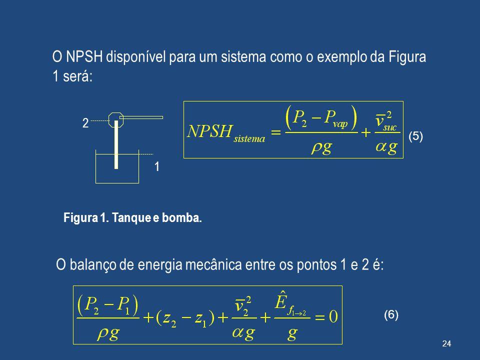 O NPSH disponível para um sistema como o exemplo da Figura 1 será: 2 Figura 1. Tanque e bomba. O balanço de energia mecânica entre os pontos 1 e 2 é: