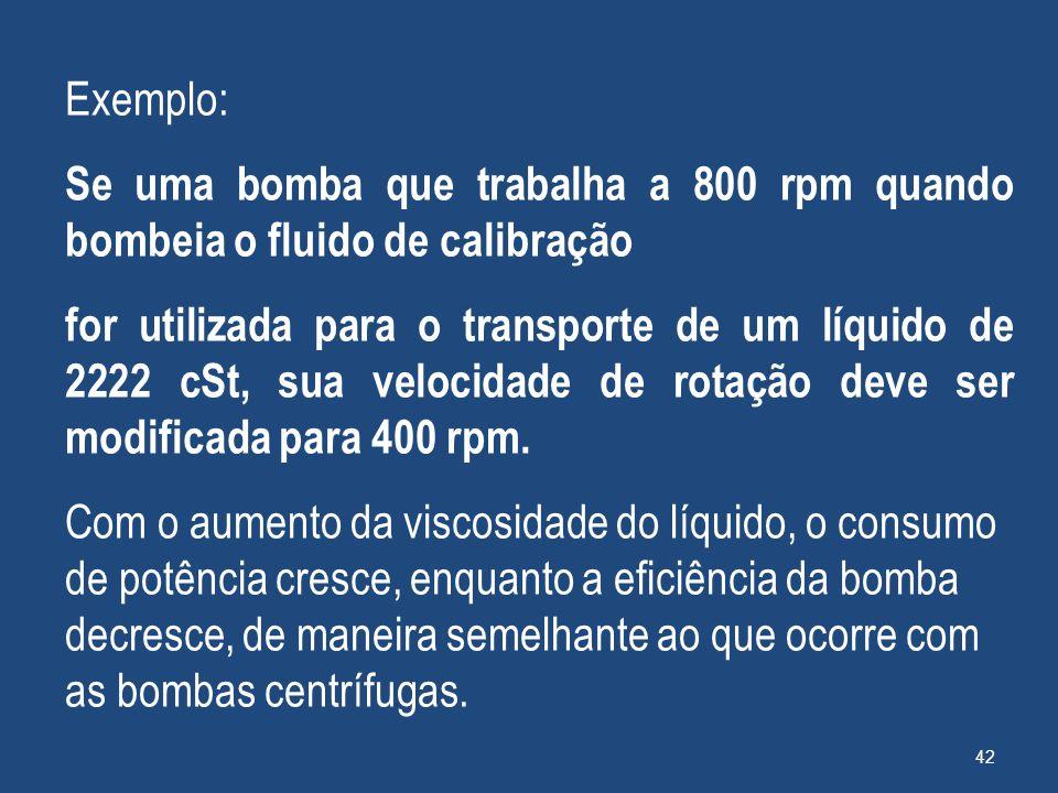 Exemplo: Se uma bomba que trabalha a 800 rpm quando bombeia o fluido de calibração for utilizada para o transporte de um líquido de 2222 cSt, sua velo