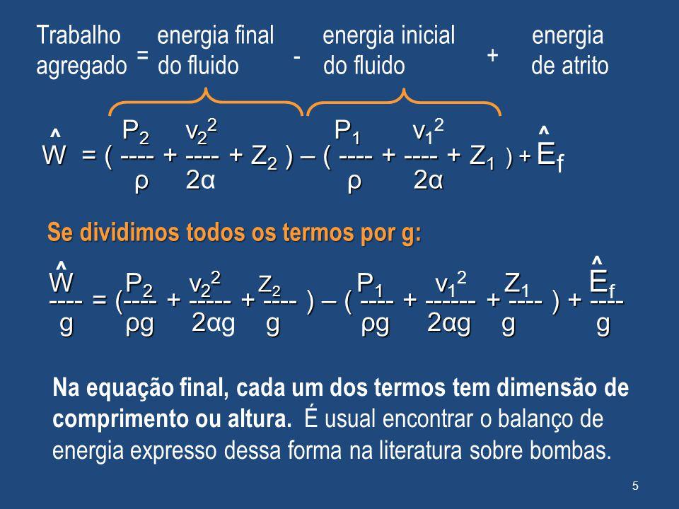Se dividimos todos os termos por g: Na equação final, cada um dos termos tem dimensão de comprimento ou altura. É usual encontrar o balanço de energia