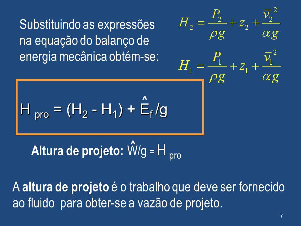 A altura de projeto é o trabalho que deve ser fornecido ao fluido para obter-se a vazão de projeto. Substituindo as expressões na equação do balanço d
