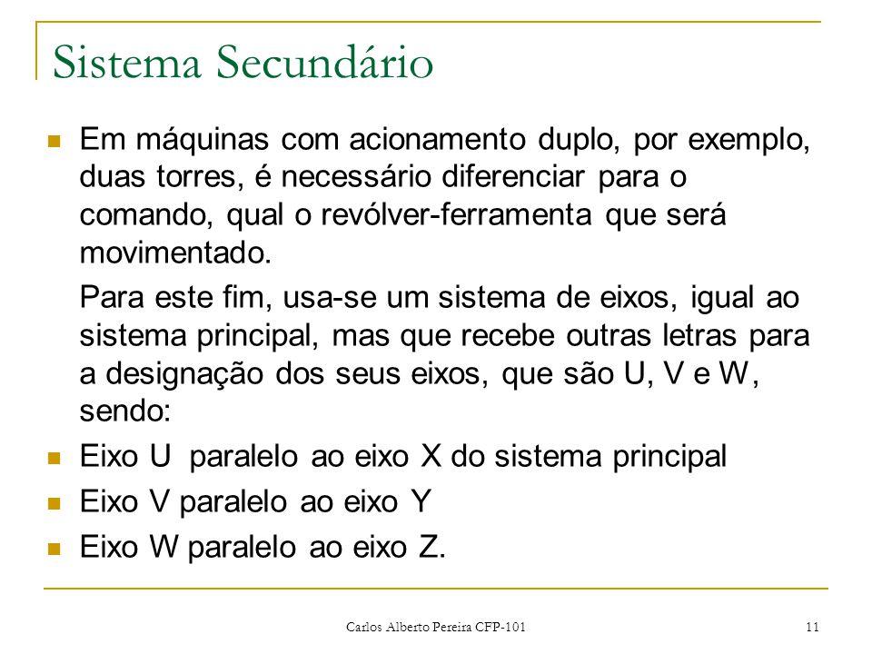 Carlos Alberto Pereira CFP-101 11 Sistema Secundário Em máquinas com acionamento duplo, por exemplo, duas torres, é necessário diferenciar para o coma