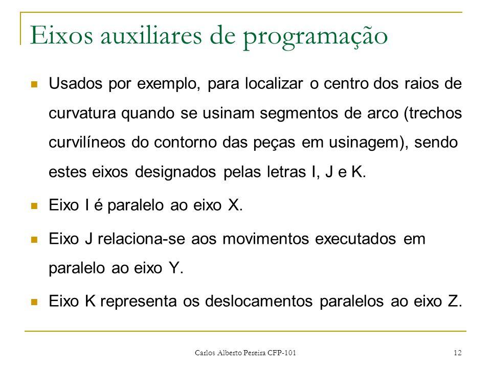 Carlos Alberto Pereira CFP-101 12 Eixos auxiliares de programação Usados por exemplo, para localizar o centro dos raios de curvatura quando se usinam segmentos de arco (trechos curvilíneos do contorno das peças em usinagem), sendo estes eixos designados pelas letras I, J e K.