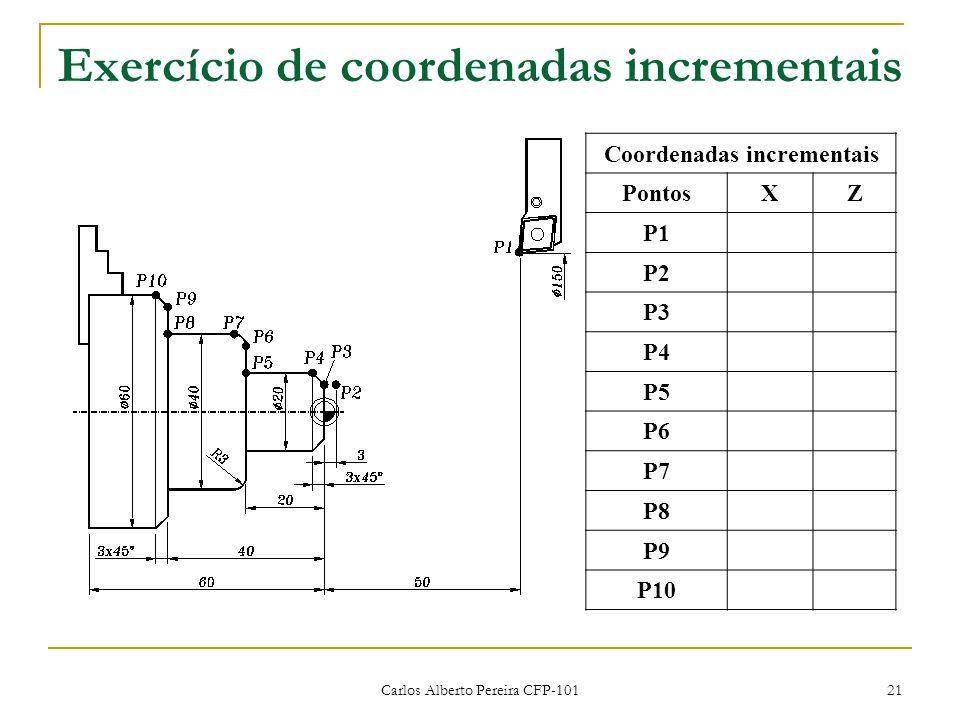 Carlos Alberto Pereira CFP-101 21 Exercício de coordenadas incrementais Coordenadas incrementais PontosXZ P1 P2 P3 P4 P5 P6 P7 P8 P9 P10
