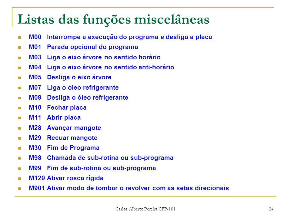 Carlos Alberto Pereira CFP-101 24 Listas das funções miscelâneas M00Interrompe a execução do programa e desliga a placa M01Parada opcional do programa