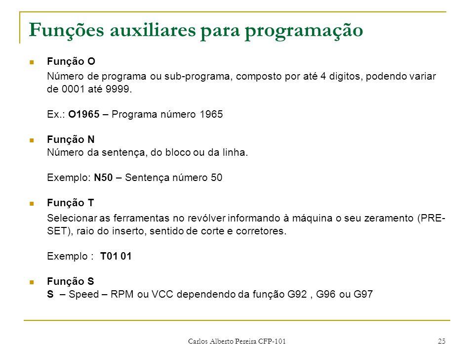 Carlos Alberto Pereira CFP-101 25 Funções auxiliares para programação Função O Número de programa ou sub-programa, composto por até 4 digitos, podendo variar de 0001 até 9999.