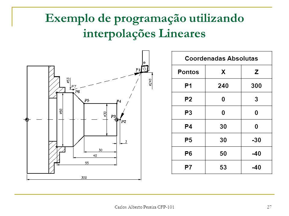 Carlos Alberto Pereira CFP-101 27 Exemplo de programação utilizando interpolações Lineares Coordenadas Absolutas PontosXZ P1240300 P203 P300 P4300 P530-30 P650-40 P753-40