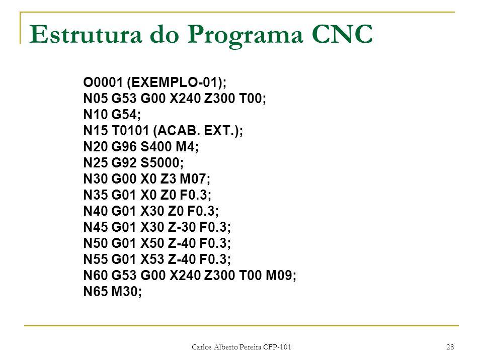 Carlos Alberto Pereira CFP-101 28 Estrutura do Programa CNC O0001 (EXEMPLO-01); N05 G53 G00 X240 Z300 T00; N10 G54; N15 T0101 (ACAB. EXT.); N20 G96 S4