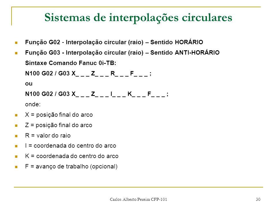 Carlos Alberto Pereira CFP-101 30 Sistemas de interpolações circulares Função G02 - Interpolação circular (raio) – Sentido HORÁRIO Função G03 - Interpolação circular (raio) – Sentido ANTI-HORÁRIO Sintaxe Comando Fanuc 0i-TB: N100 G02 / G03 X_ _ _ Z_ _ _ R_ _ _ F_ _ _ ; ou N100 G02 / G03 X_ _ _ Z_ _ _ I_ _ _ K_ _ _ F_ _ _ ; onde: X = posição final do arco Z = posição final do arco R = valor do raio I = coordenada do centro do arco K = coordenada do centro do arco F = avanço de trabalho (opcional)